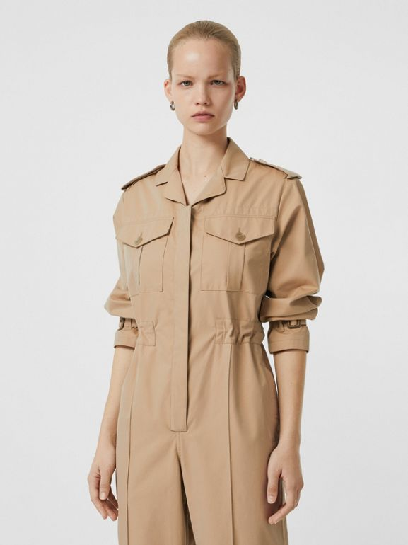 Cotton Gabardine Jumpsuit in Honey - Women | Burberry - cell image 1