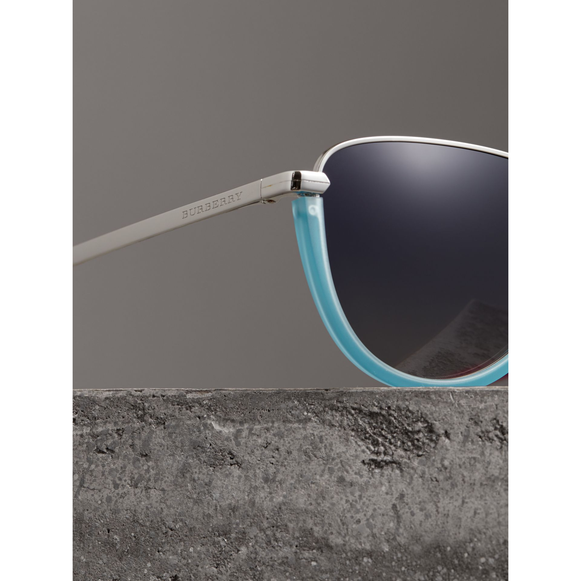 Half Moon Pilot Round Frame Sunglasses in Pale Blue - Women | Burberry - gallery image 1