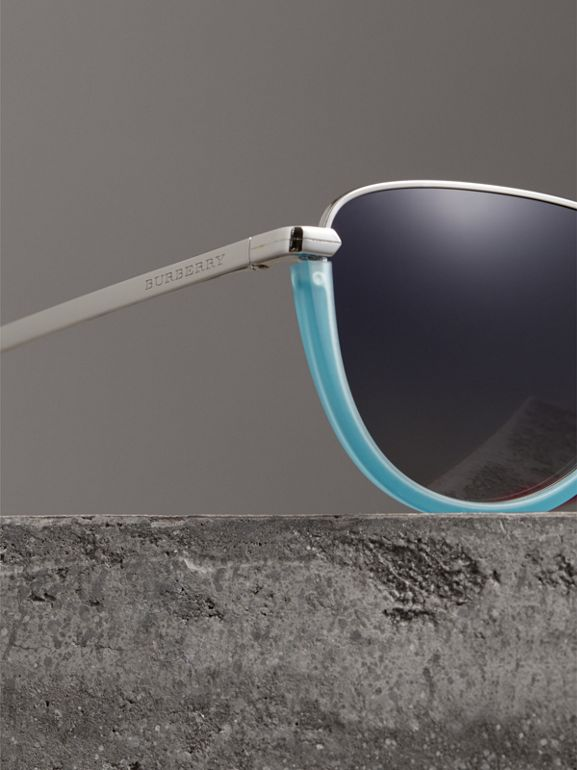 Half Moon Pilot Round Frame Sunglasses in Pale Blue - Women | Burberry - cell image 1