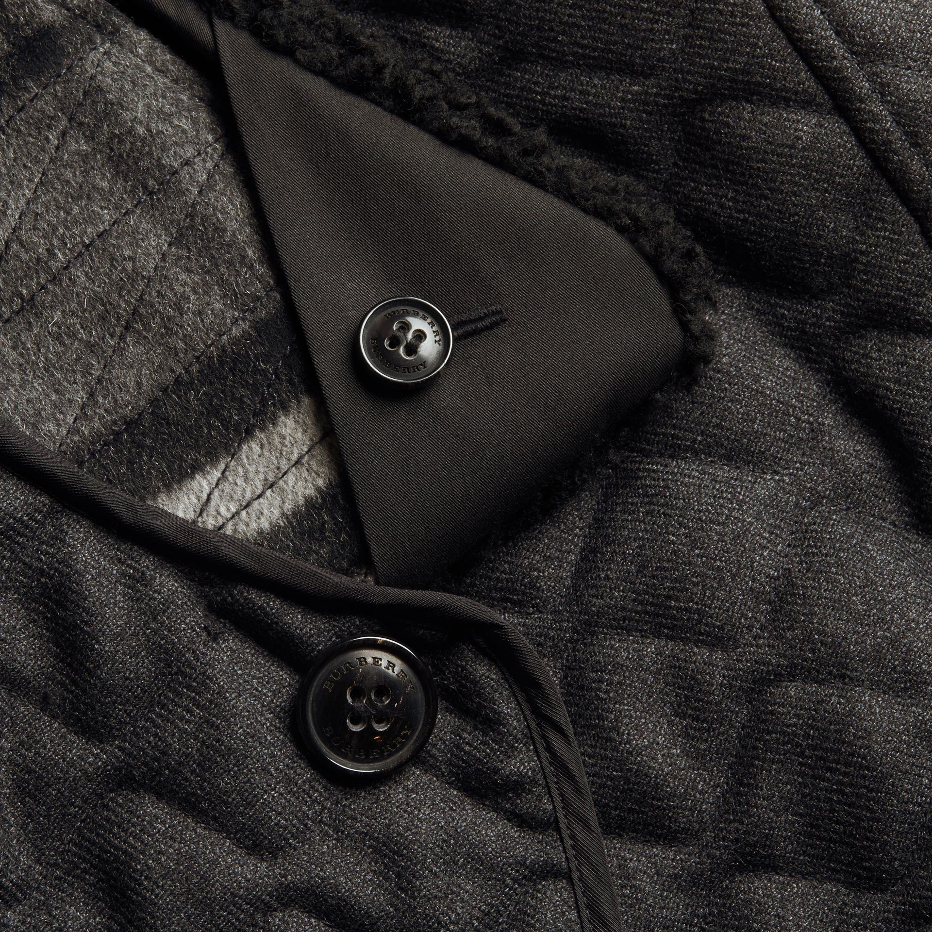 Dark grey melange Quilted Wool Flannel Jacket with Detachable Shearling Collar - gallery image 2