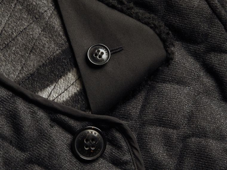 Dark grey melange Quilted Wool Flannel Jacket with Detachable Shearling Collar - cell image 1