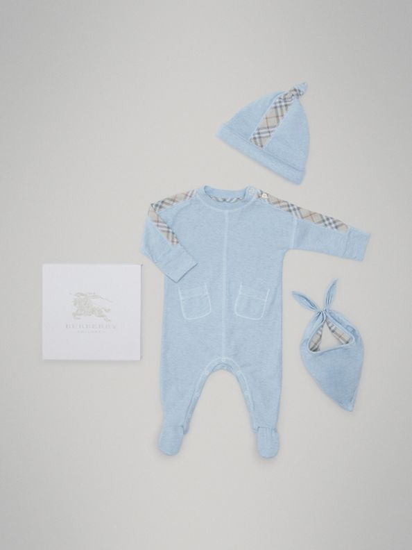 Check Cotton Three-piece Baby Gift Set in Pale Carbon Blue