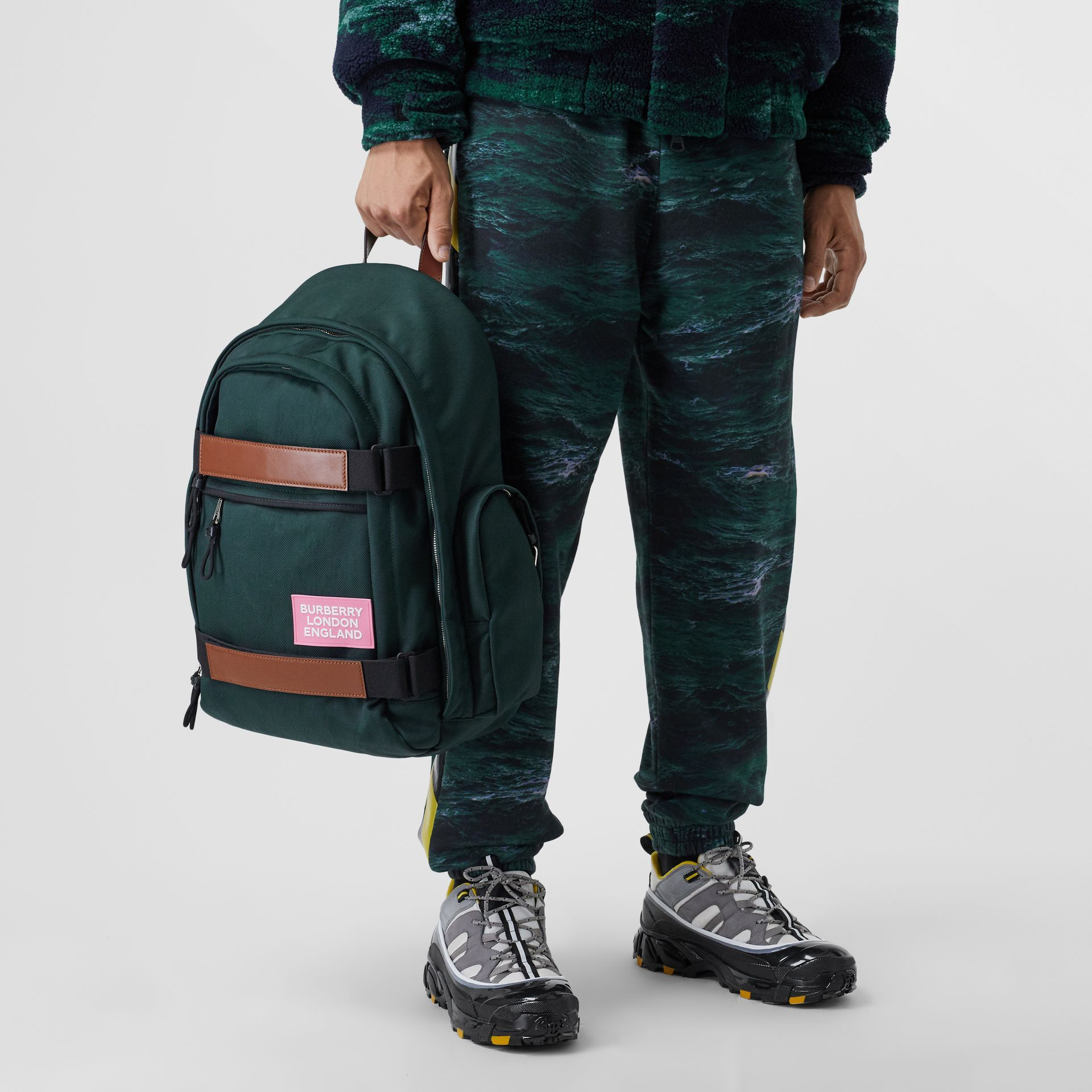 Large Leather Trim Nylon Nevis Backpack in Dark Pine Green | Burberry United States - gallery image 3