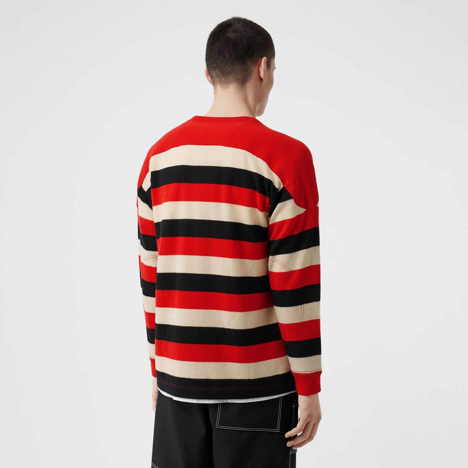 Kingdom Detail Striped Cashmere Sweater in Bright Red - Men | Burberry - gallery image 2