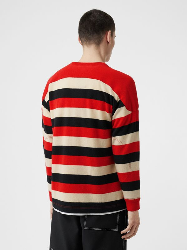 Kingdom Detail Striped Cashmere Sweater in Bright Red - Men | Burberry - cell image 2