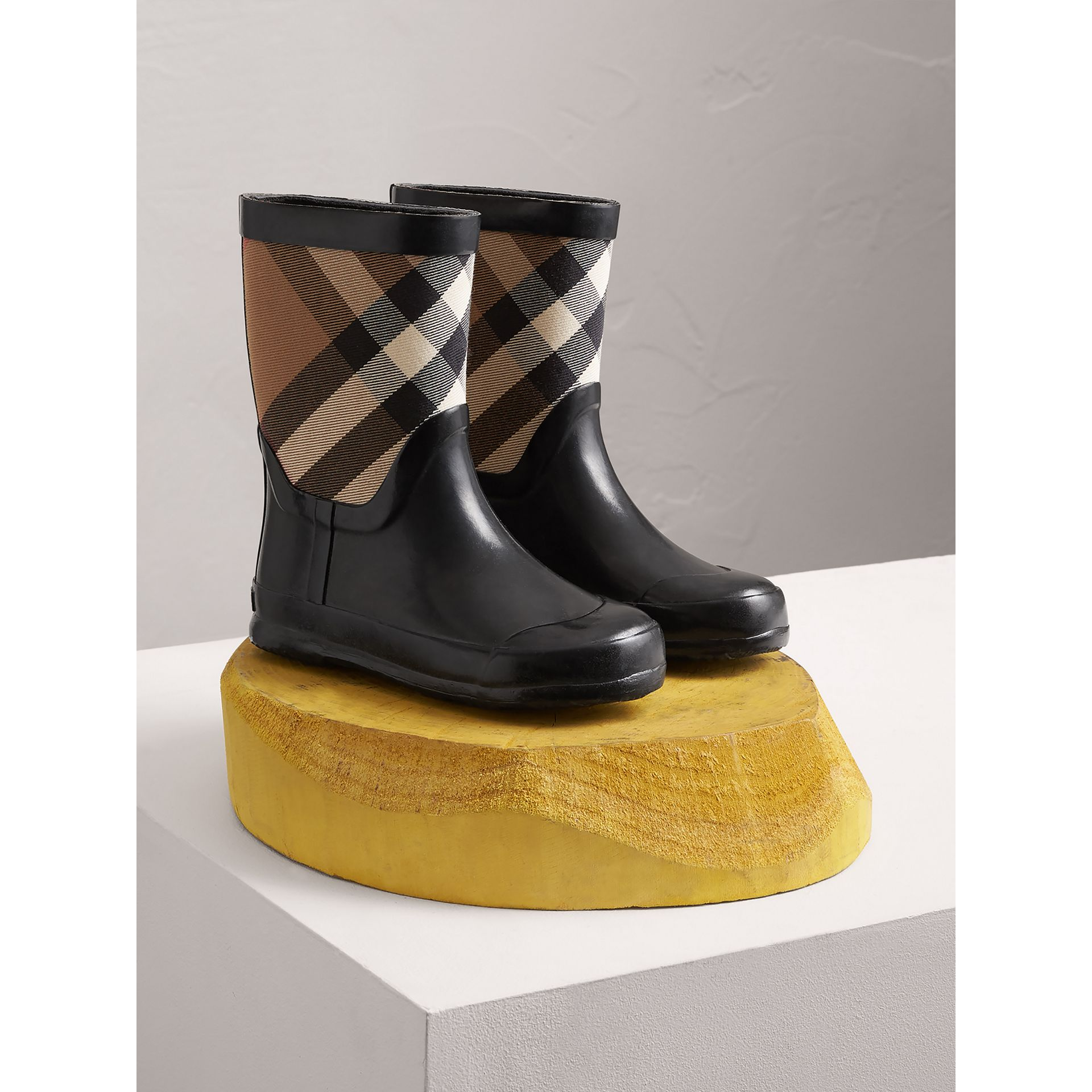 House Check Panel Rain Boots in Black | Burberry Canada - gallery image 0