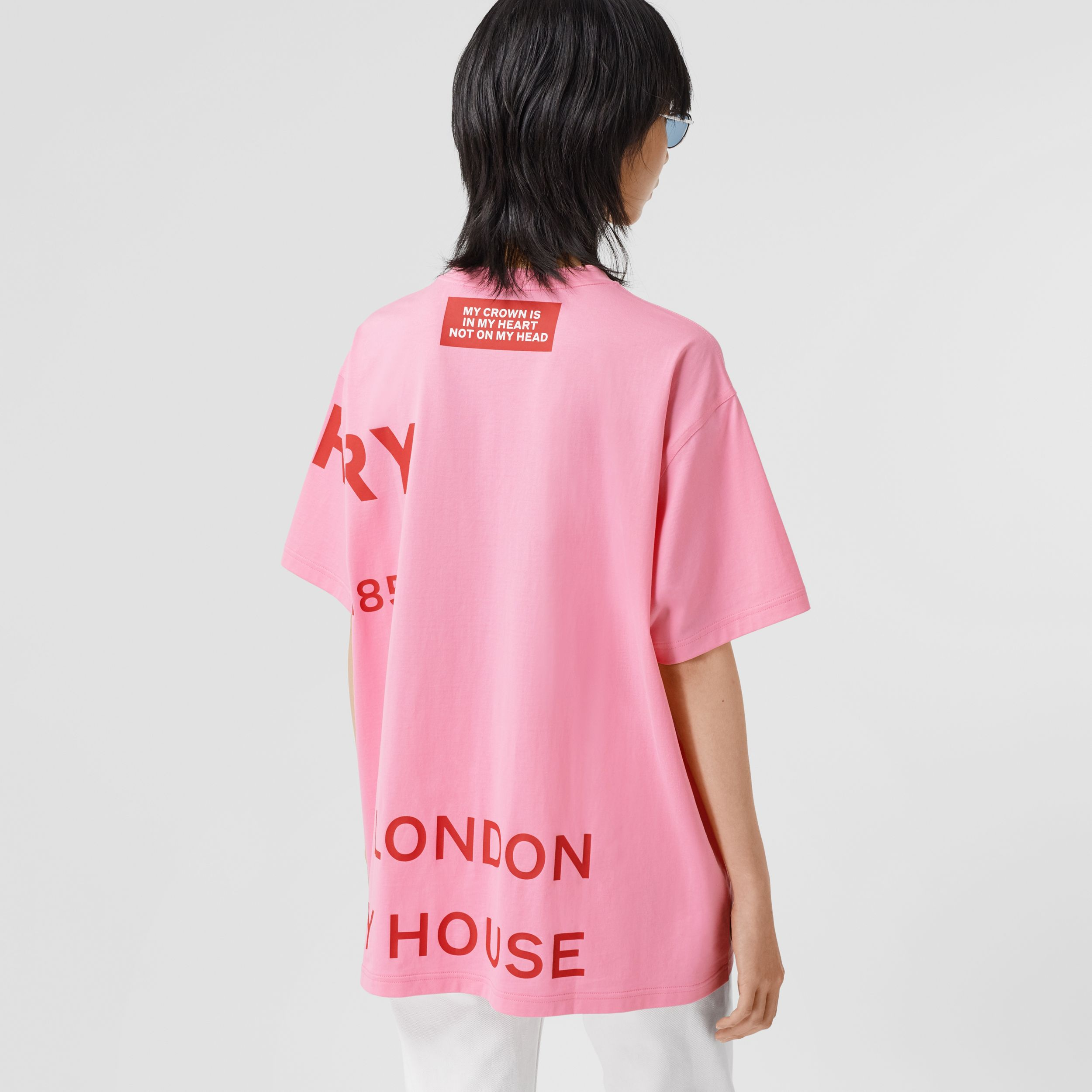 Horseferry Print Cotton Oversized T-shirt in Bubblegum Pink - Women | Burberry United States - 3