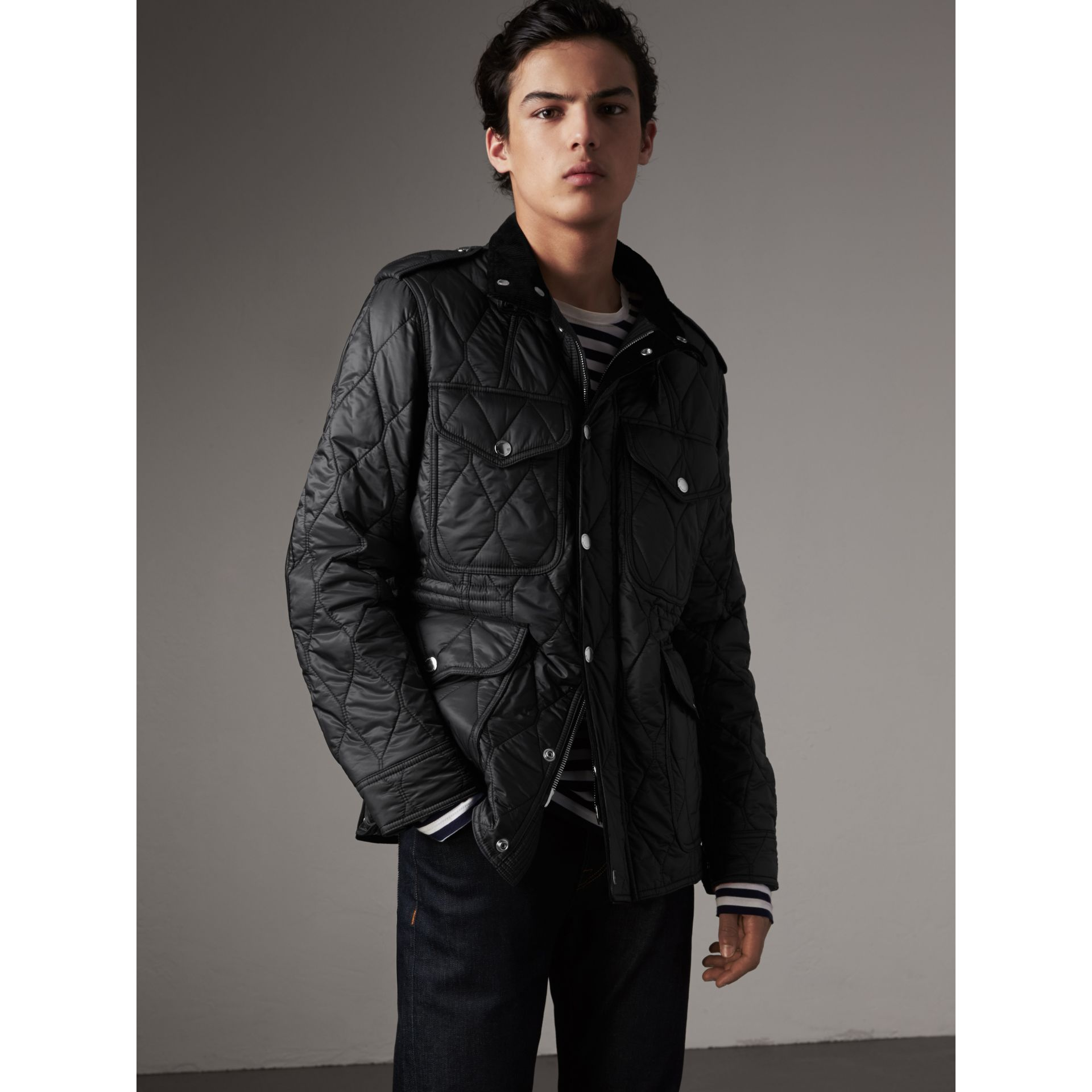 Diamond Quilted Field Jacket in Black - Men | Burberry - gallery image 1