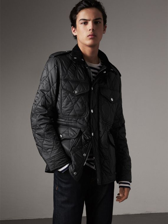 Diamond Quilted Field Jacket in Black