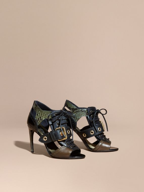 Buckle Detail Leather and Snakeskin Cut-out Ankle Boots in Military Olive