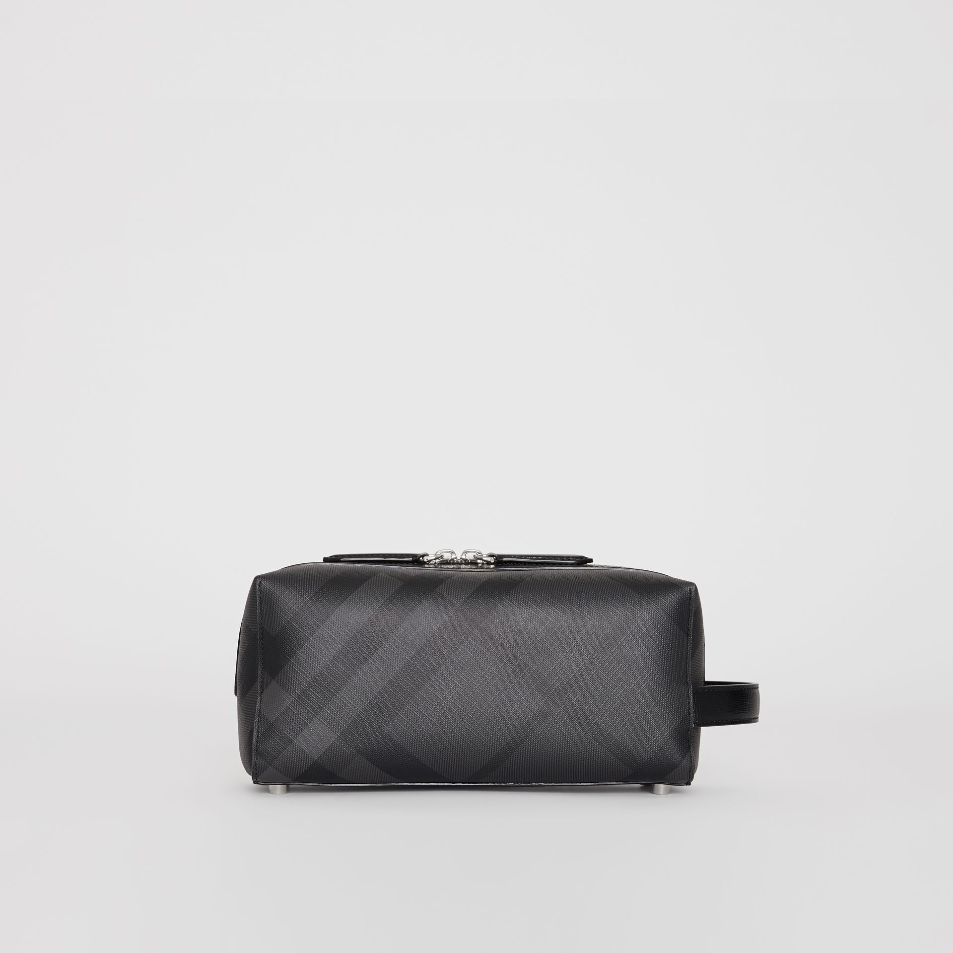 London Check and Leather Pouch in Charcoal/black | Burberry Singapore - gallery image 4