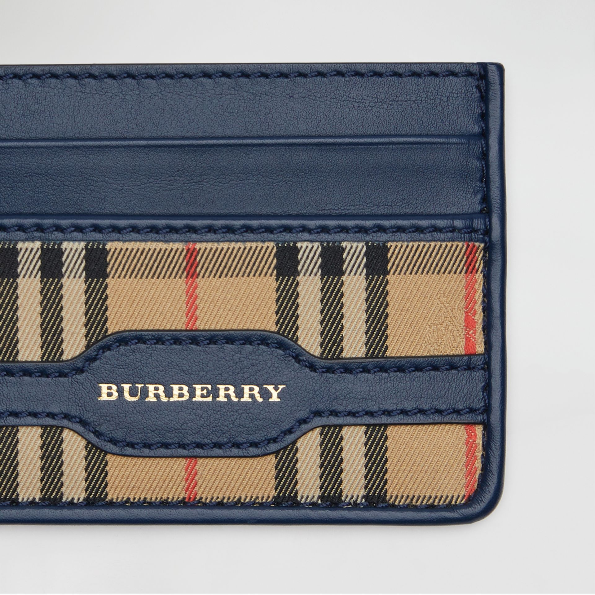 1983 Check and Leather Card Case in Ink Blue | Burberry - gallery image 1