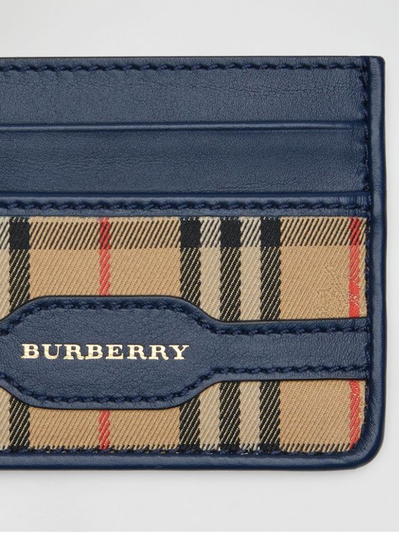 1983 Check and Leather Card Case in Ink Blue - Men | Burberry - cell image 1