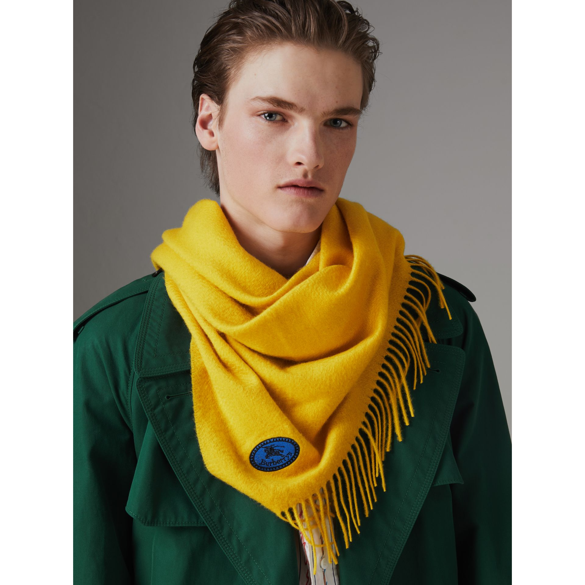 The Burberry Bandana in Embroidered Cashmere in Gorse Yellow | Burberry - gallery image 3