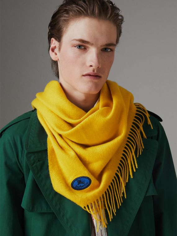 The Burberry Bandana in Embroidered Cashmere in Gorse Yellow | Burberry - cell image 3