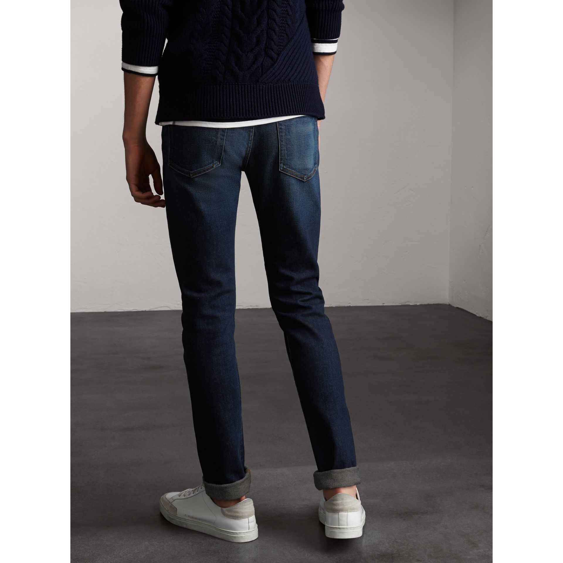 Skinny Fit Brushed Stretch Denim Jeans in Vintage Blue - Men | Burberry - gallery image 3