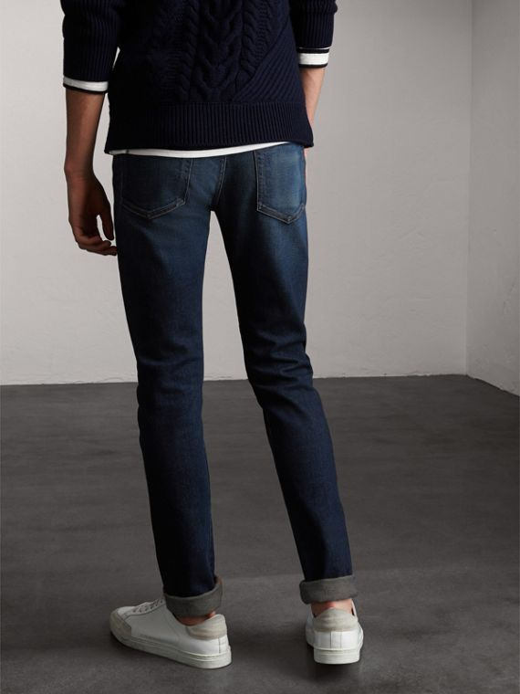 Skinny Fit Brushed Stretch Denim Jeans in Vintage Blue - Men | Burberry - cell image 2
