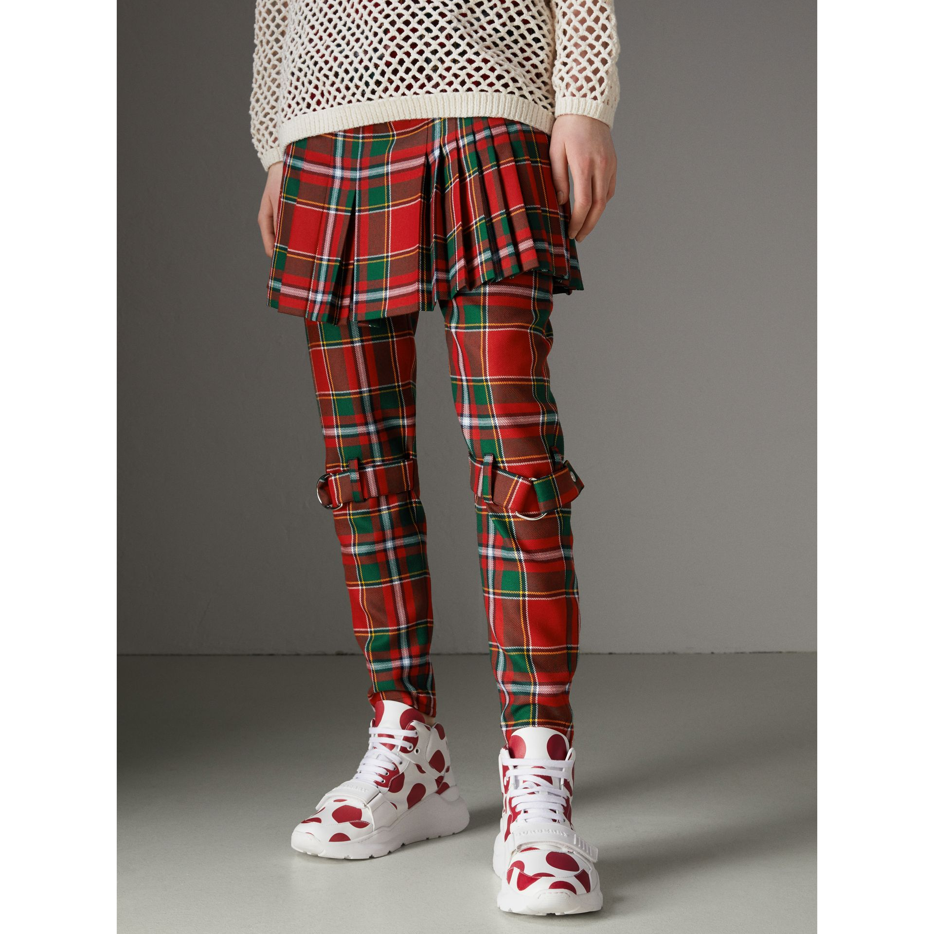 Modern Stewart Royal Tartan Punk Trousers in Bright Red - Women | Burberry Australia - gallery image 6