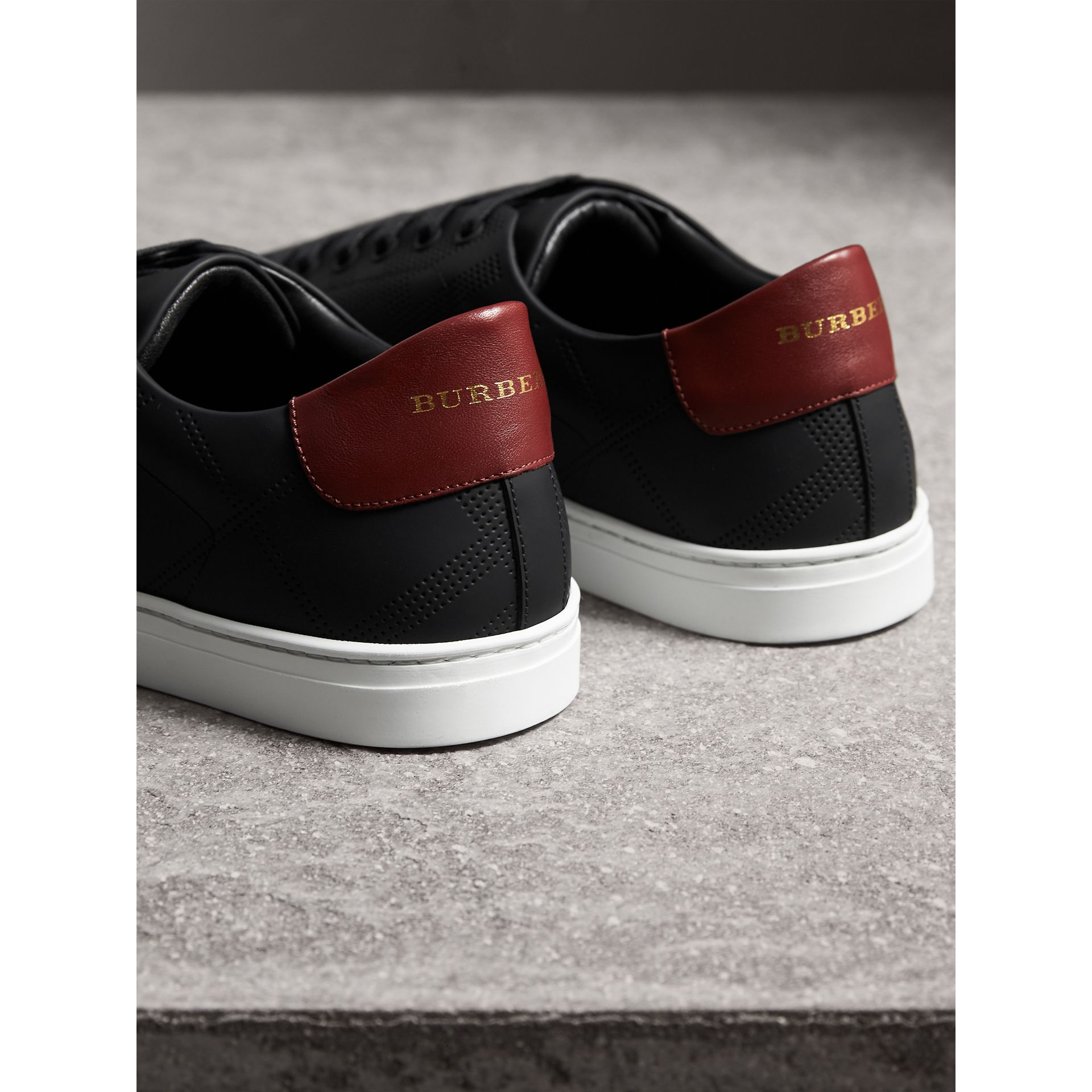 Perforated Check Leather Trainers in Black/deep Claret Melange | Burberry - gallery image 3