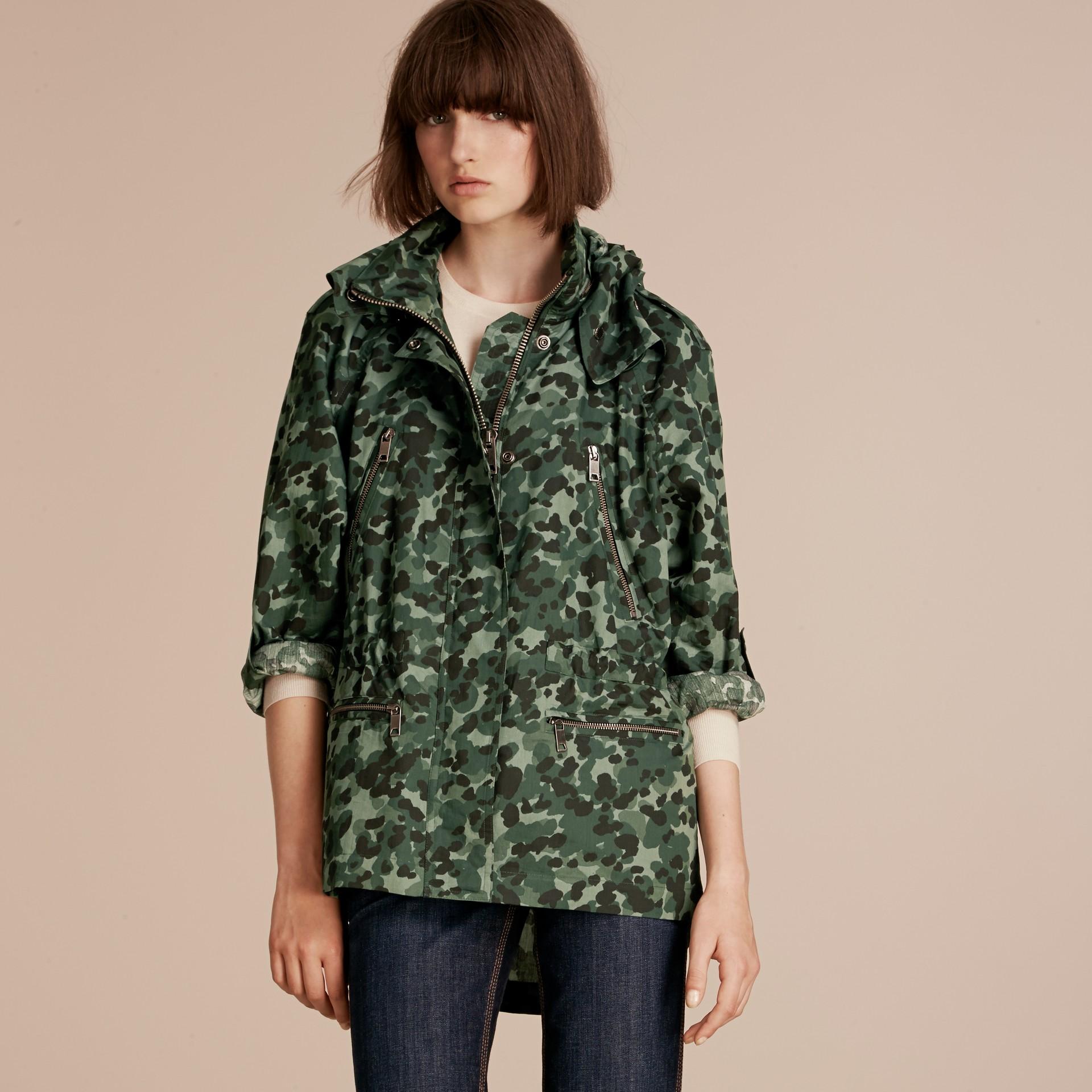 Deep bottle green Showerproof Cotton Parka Jacket with Packaway Hood - gallery image 7