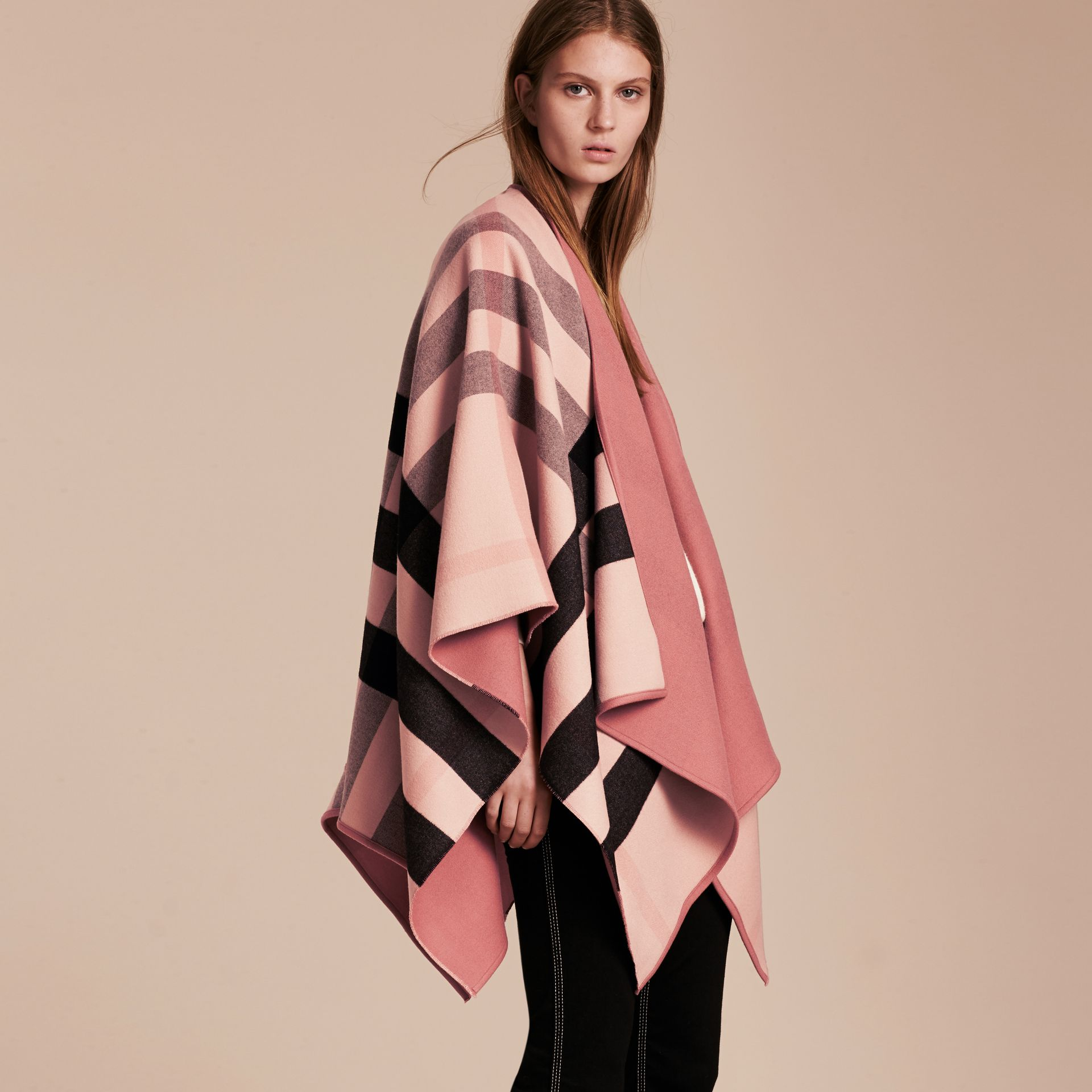 Reversible Check Merino Wool Poncho Ash Rose - gallery image 3