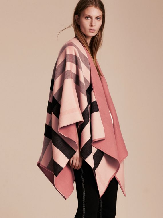 Reversible Check Merino Wool Poncho Ash Rose - cell image 2