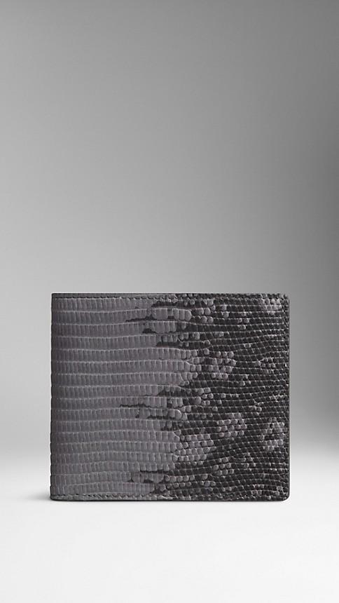 Mid grey melange Dégradé Lizard Folding Wallet - Image 1