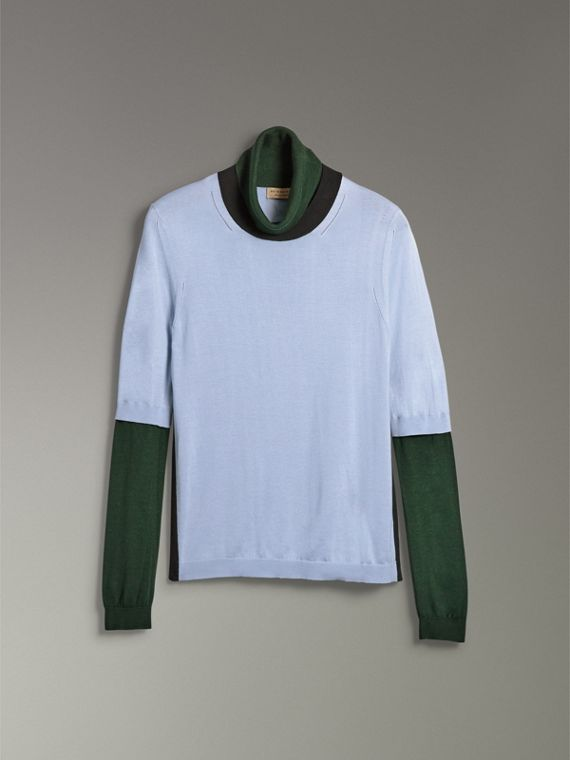 Colour Block Silk Cashmere Roll-neck Sweater in Sky Blue - Women | Burberry - cell image 3