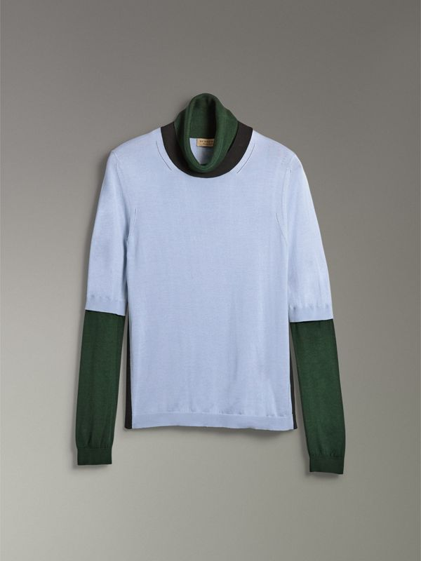 Colour Block Silk Cashmere Roll-neck Sweater in Sky Blue - Women | Burberry Australia - cell image 3