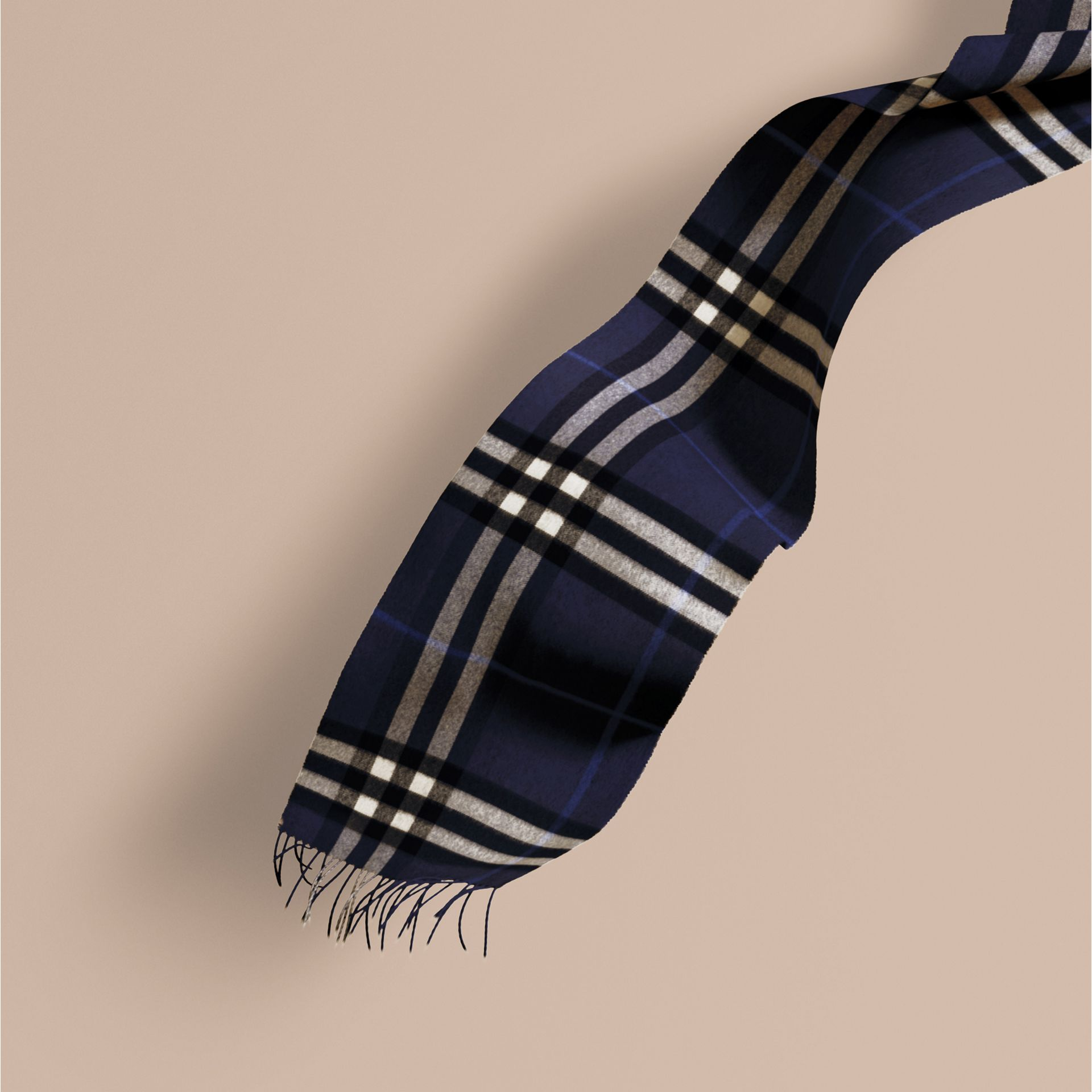 Indigo blue The Classic Cashmere Scarf in Check Indigo Blue - gallery image 1