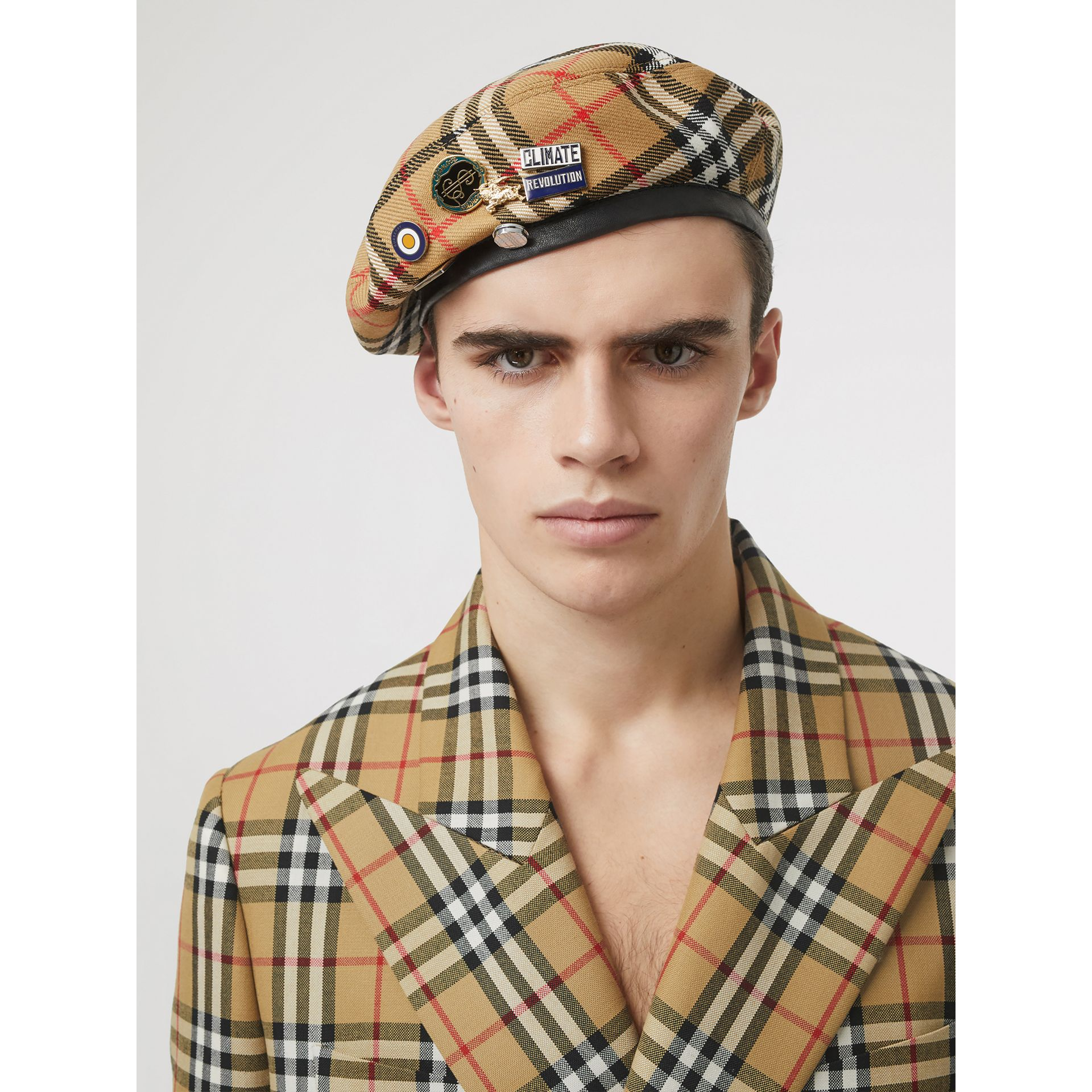 Pin Detail Vintage Check Wool Beret in Antique Yellow | Burberry Singapore - gallery image 3