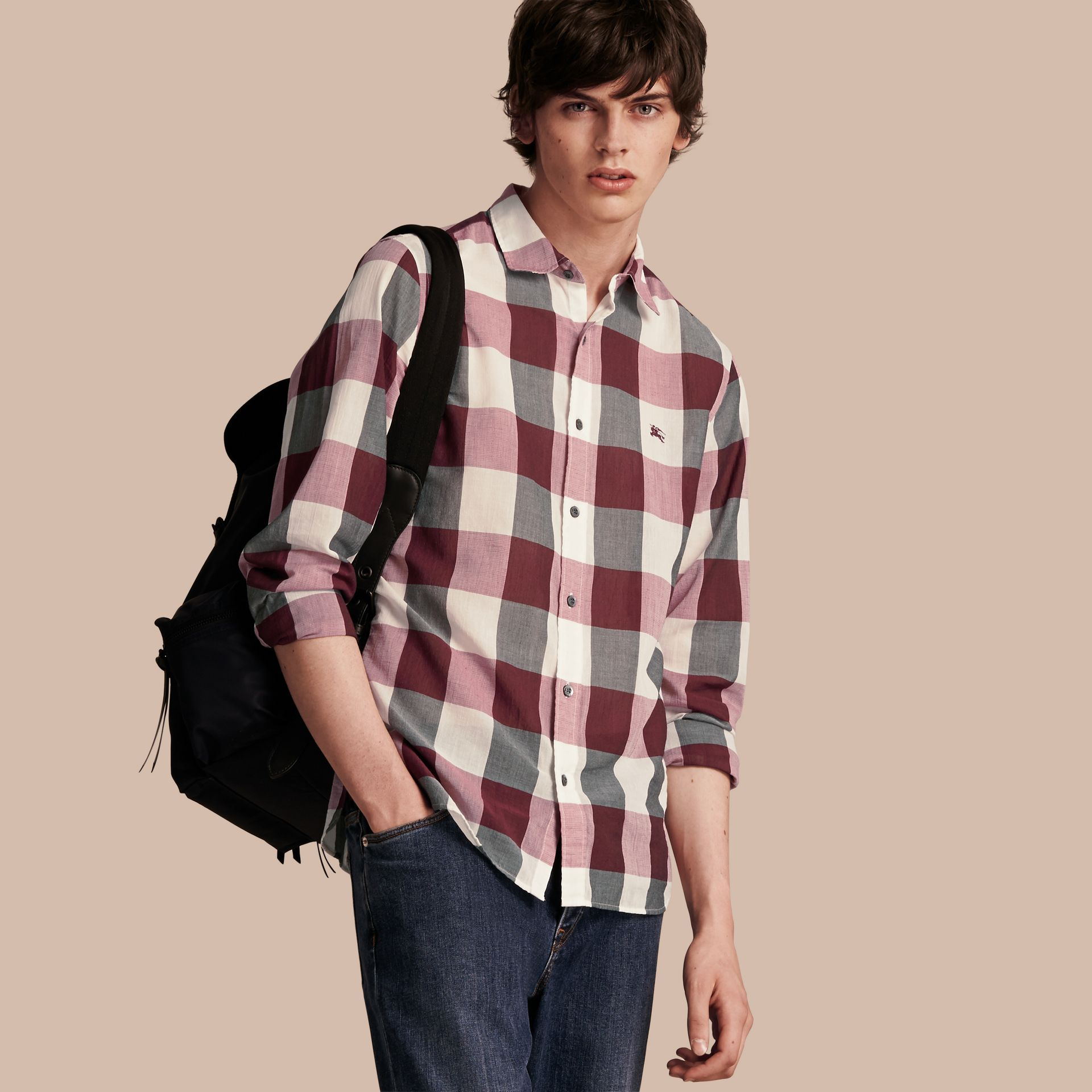 Oversize Gingham Cotton Linen Shirt Plum Pink - gallery image 1