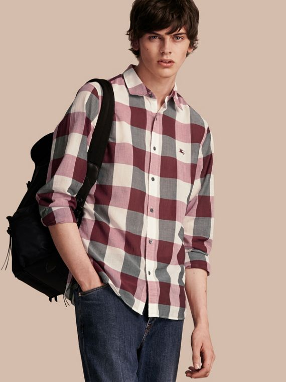 Oversize Gingham Cotton Linen Shirt Plum Pink