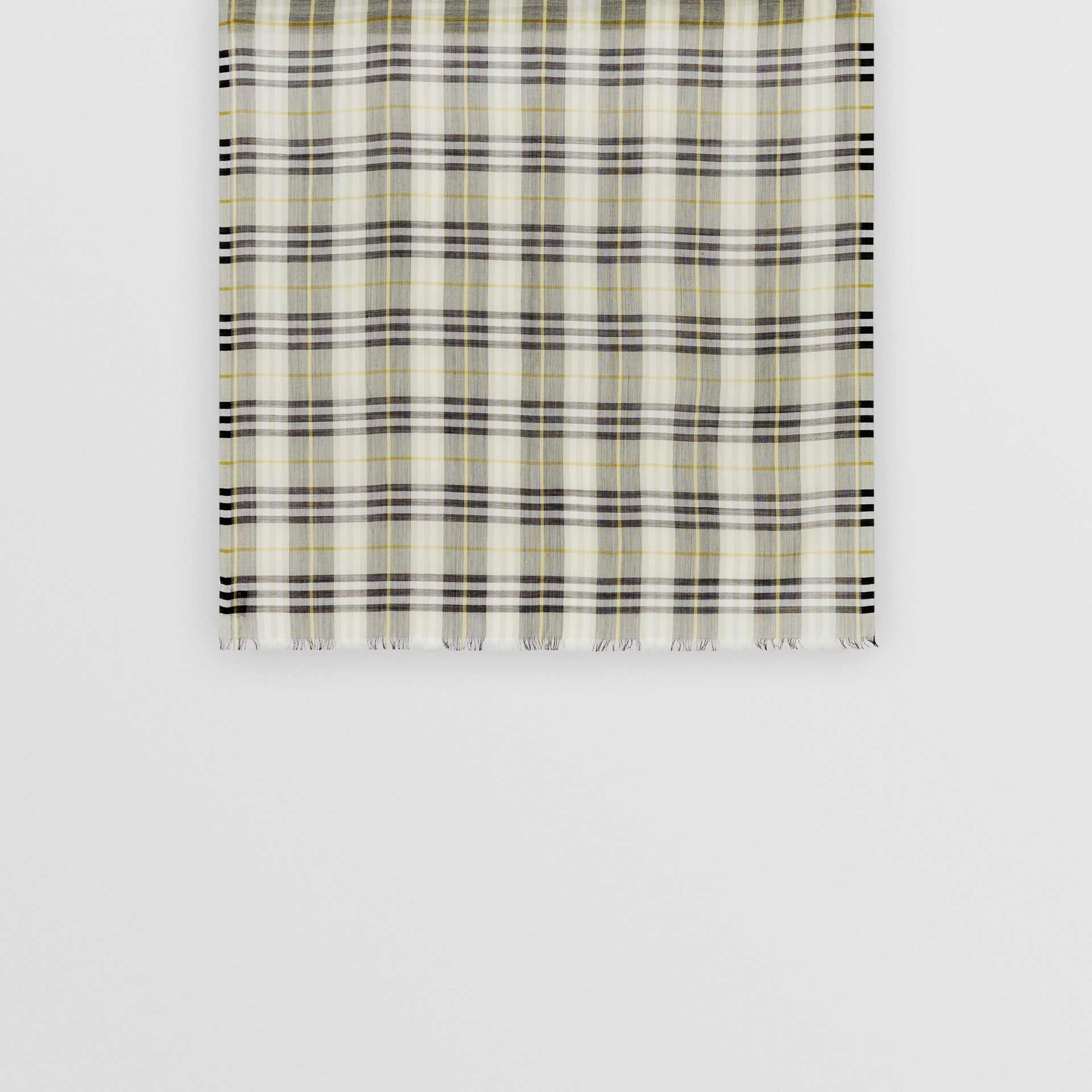 Vintage Check Lightweight Wool Silk Scarf in Sage Green | Burberry Singapore - gallery image 4