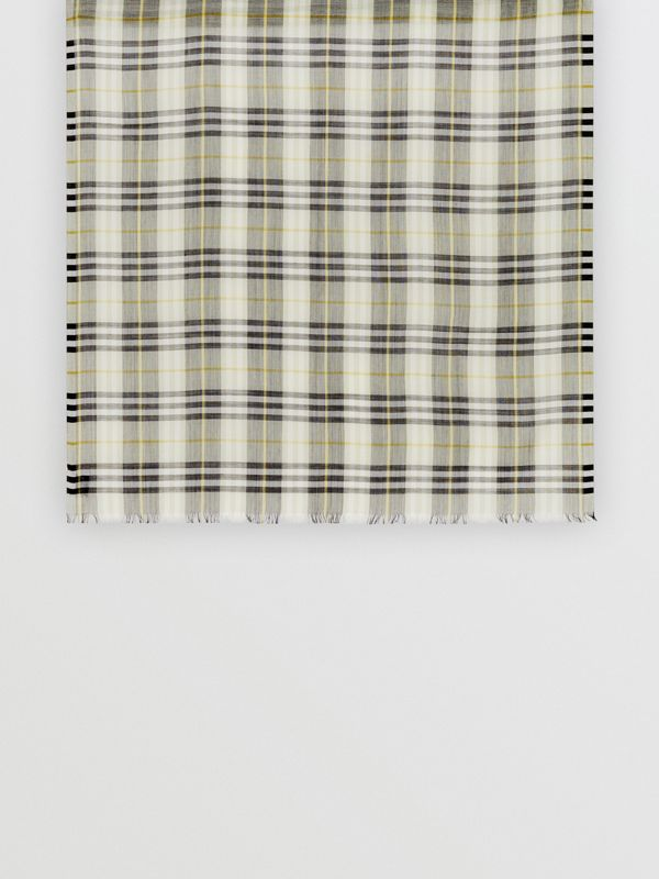 Vintage Check Lightweight Wool Silk Scarf in Sage Green | Burberry - cell image 3