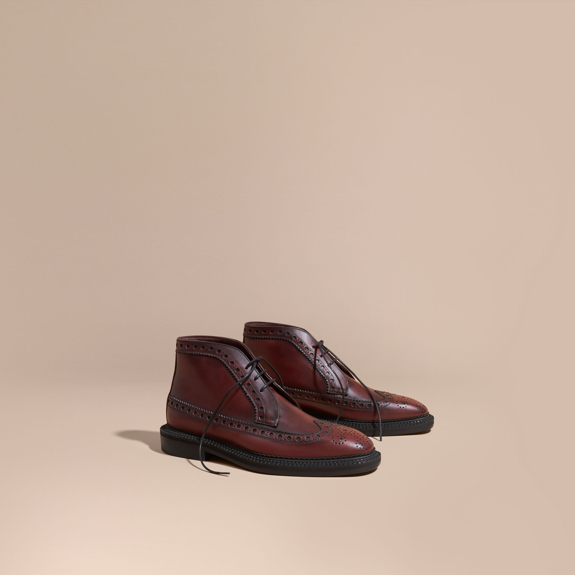 Bordeaux Leather Brogue Boots - gallery image 1