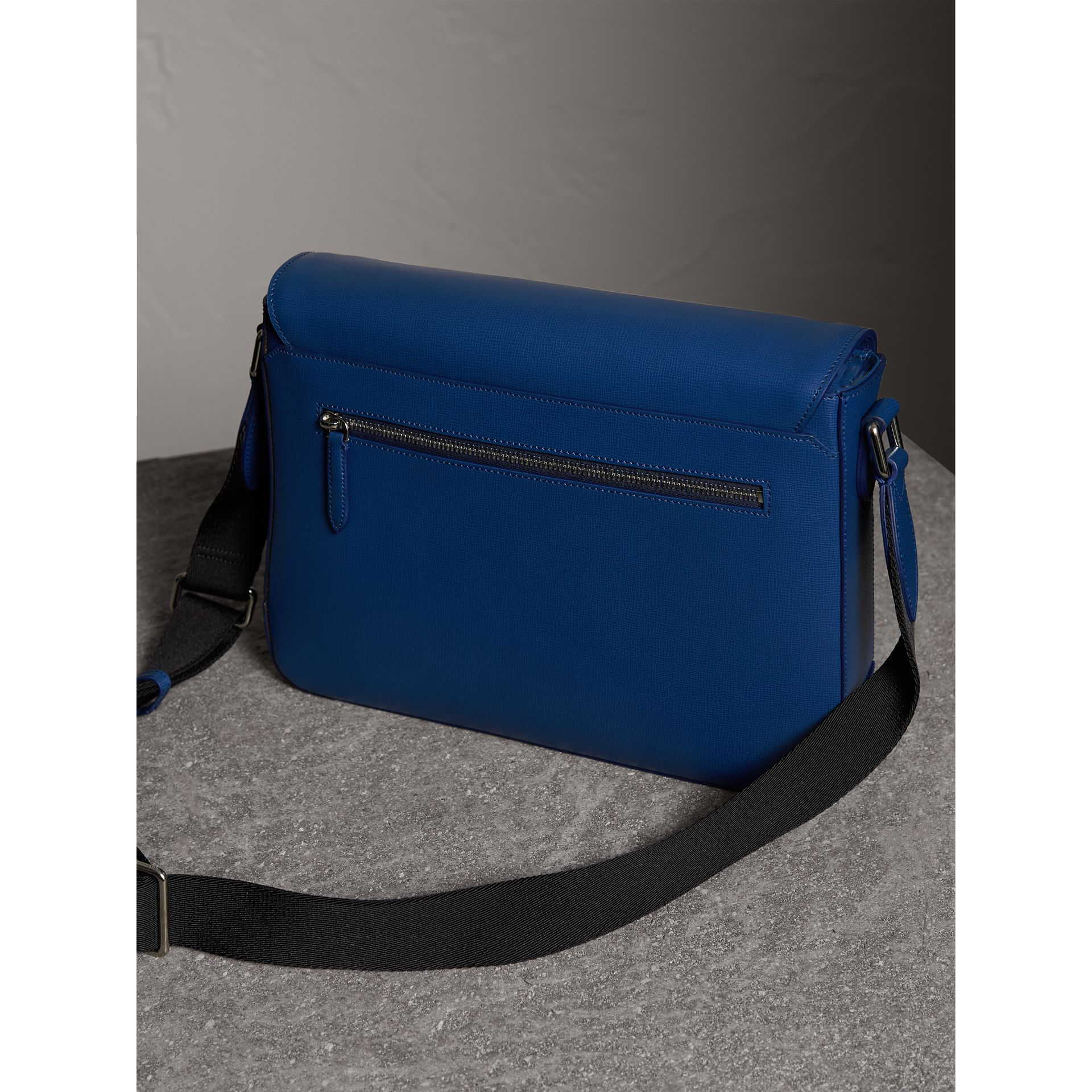 Medium London Leather Messenger Bag in Deep Blue - Men | Burberry - gallery image 4