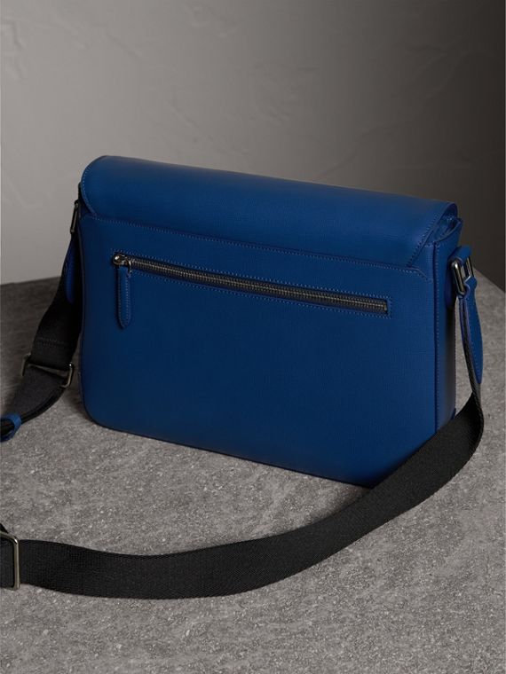 Medium London Leather Messenger Bag in Deep Blue - Men | Burberry - cell image 3