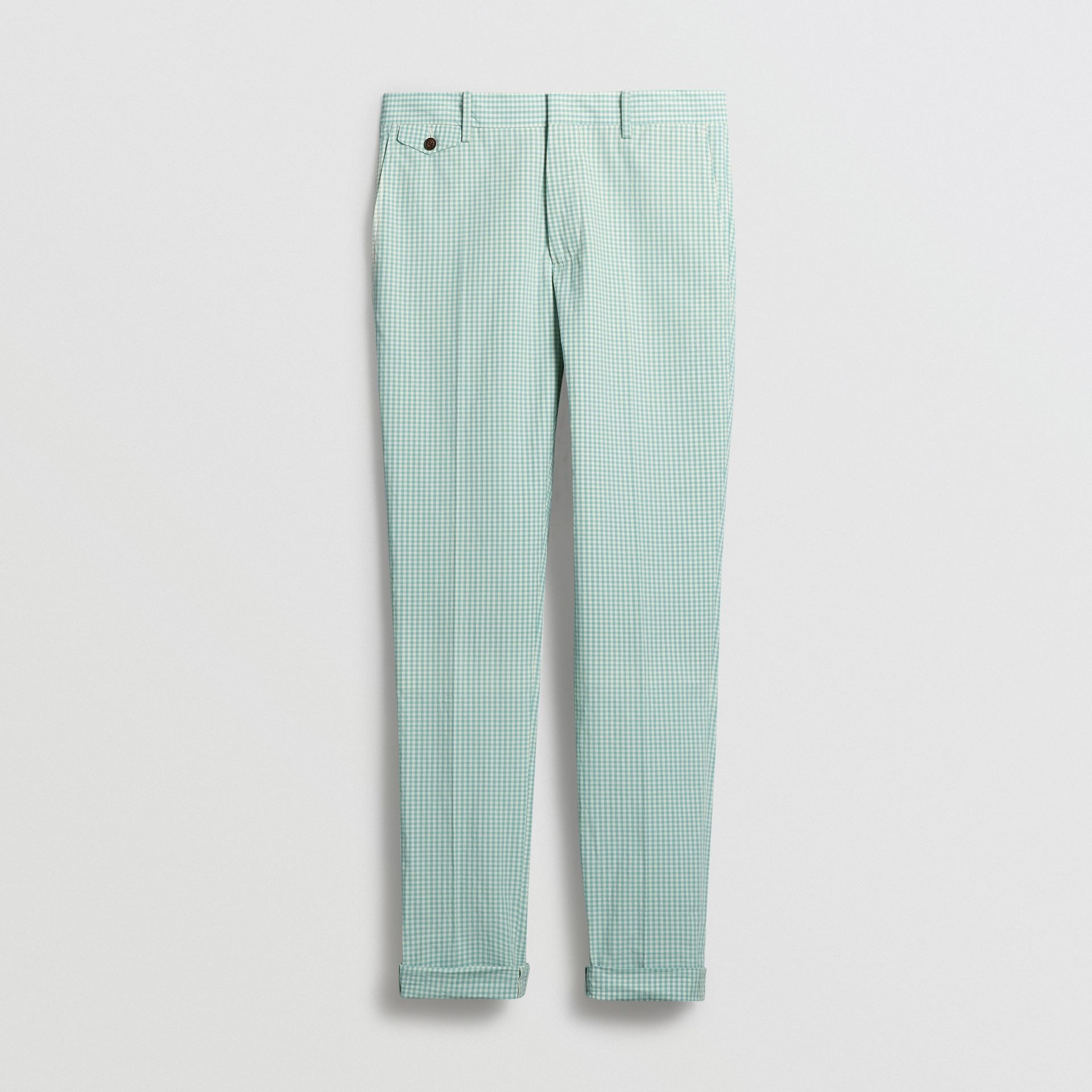 Gingham Cotton Tailored Trousers in Pale Opal - Men | Burberry Canada - gallery image 3