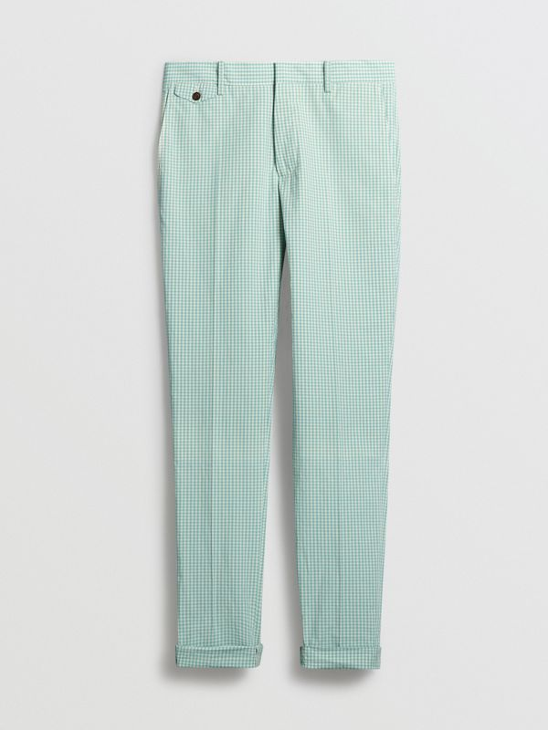 Gingham Cotton Tailored Trousers in Pale Opal - Men | Burberry Canada - cell image 3