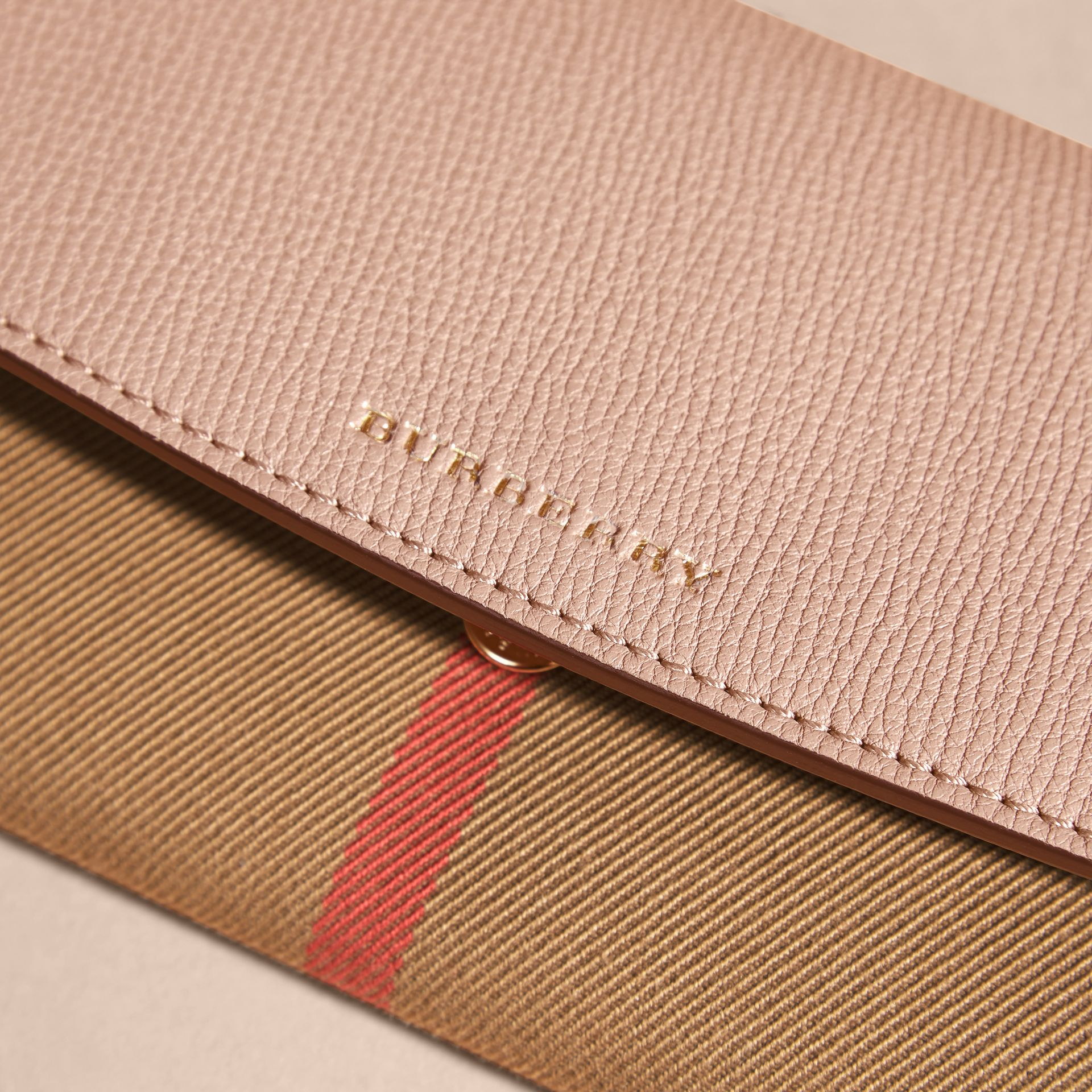 House Check And Leather Continental Wallet Pale Orchid - gallery image 3