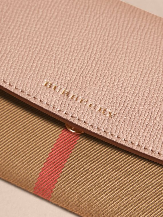 House Check And Leather Continental Wallet in Pale Orchid - Women | Burberry - cell image 2