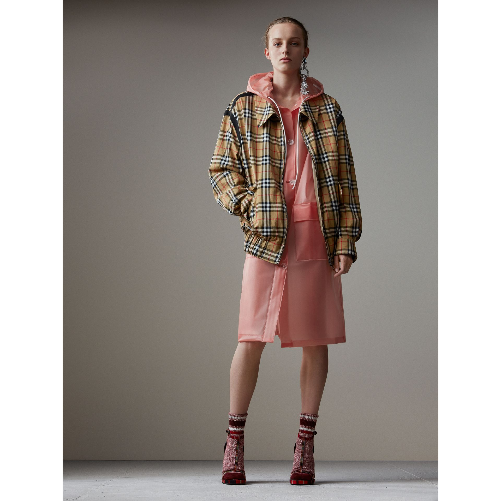 Vintage Check Gabardine Harrington Jacket in Antique Yellow - Women | Burberry - gallery image 1