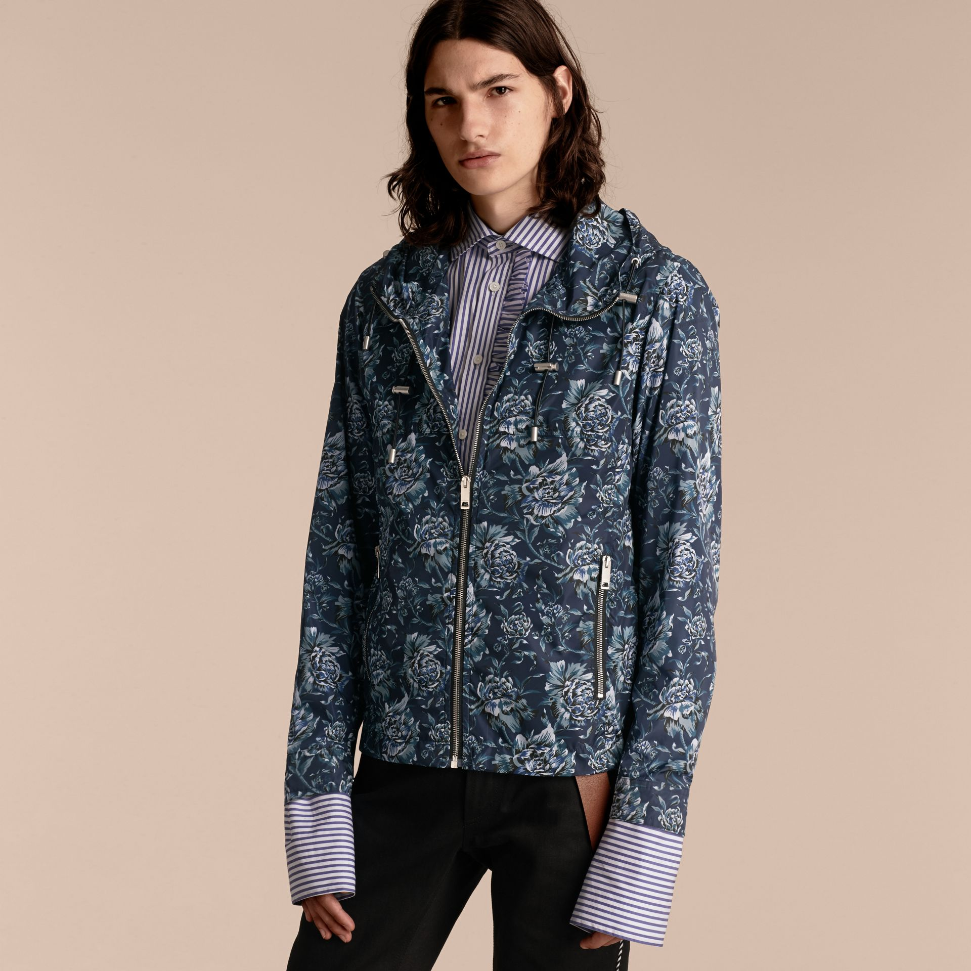 Ink blue Peony Rose Print Lightweight Jacket - gallery image 7