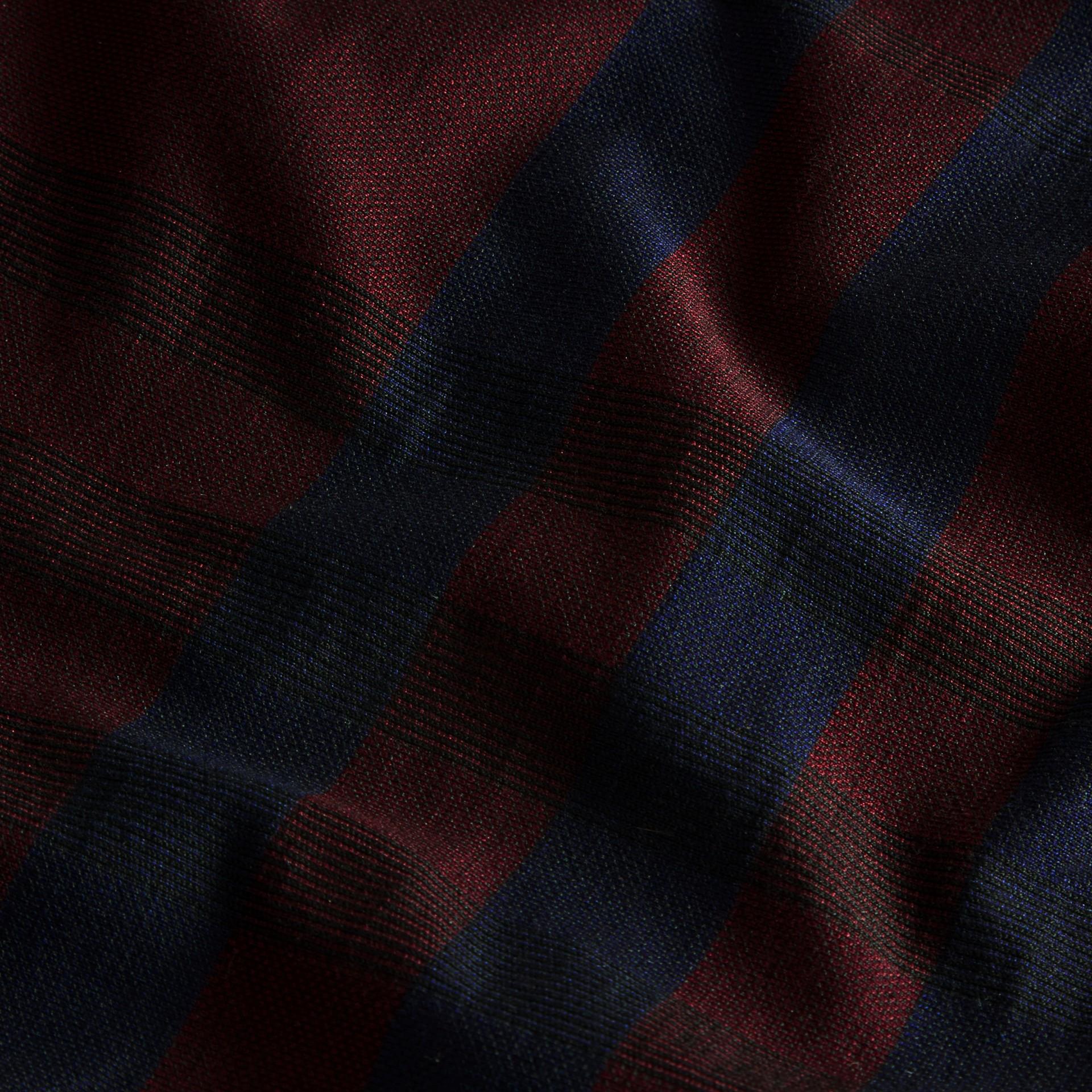 バーガンディレッド チェック ストレッチコットン ポロシャツ バーガンディレッド - ギャラリーイメージ 2