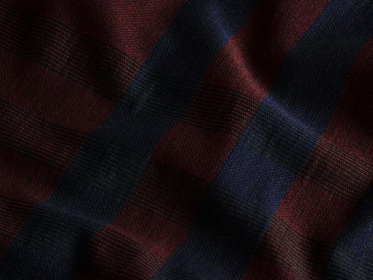 バーガンディレッド チェック ストレッチコットン ポロシャツ バーガンディレッド - cell image 1