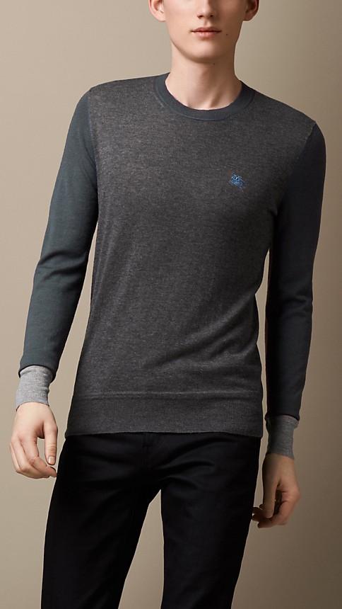 Dark grey melange Colour Block Cashmere Sweater - Image 1