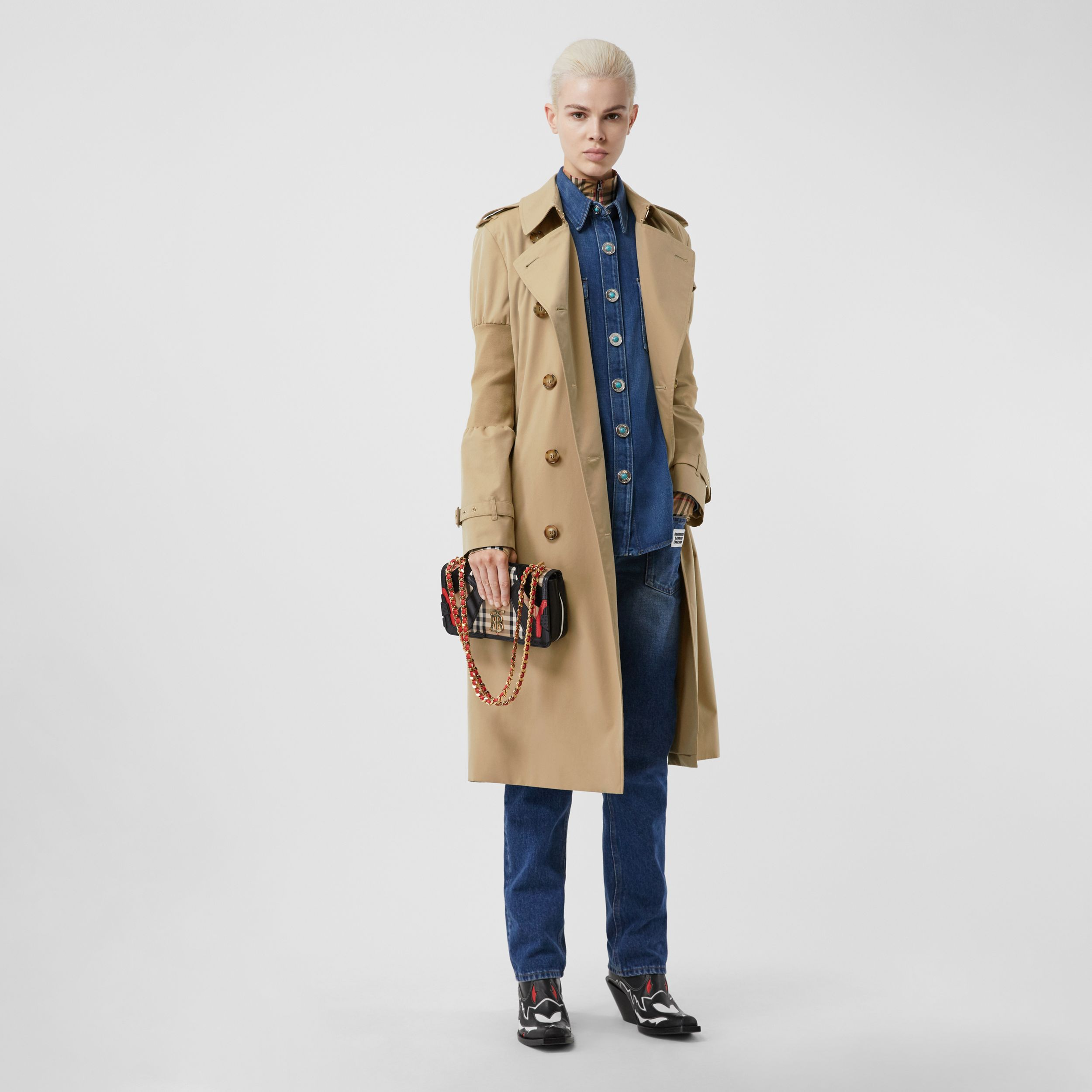 Panelled-sleeve Cotton Gabardine Oversized Trench Coat in Honey - Women | Burberry - 1