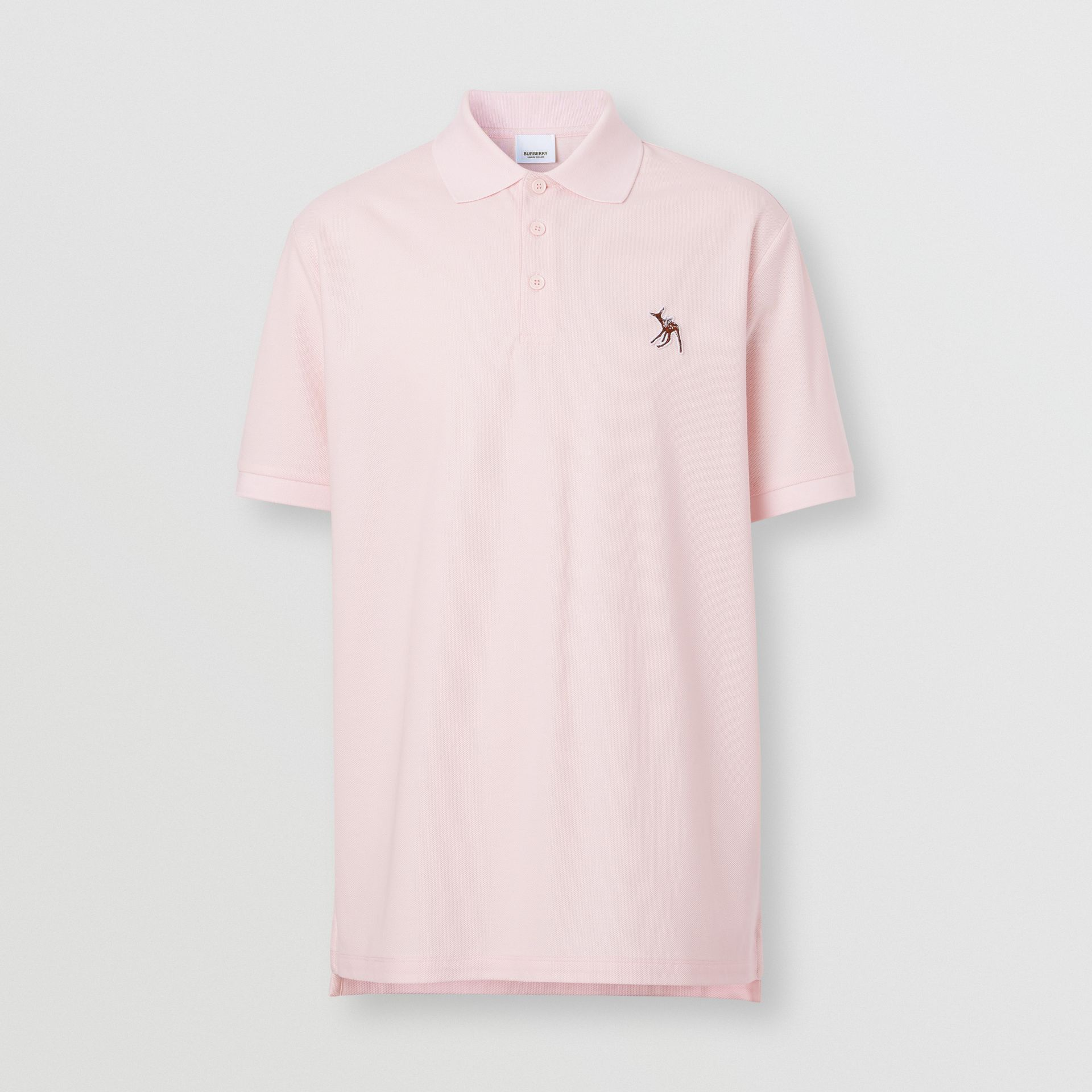 Deer Appliqué Cotton Piqué Polo Shirt in Alabaster Pink - Men | Burberry - gallery image 3