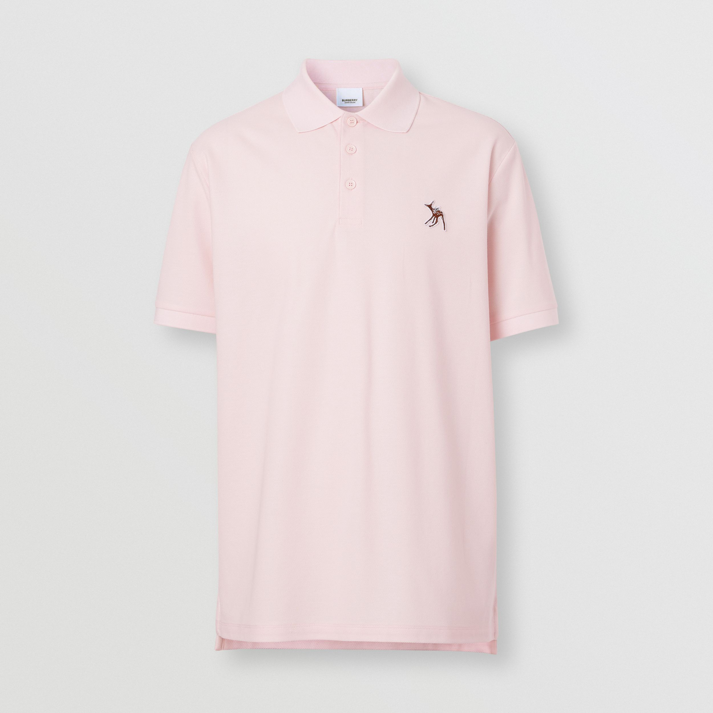 Deer Appliqué Cotton Piqué Polo Shirt in Alabaster Pink - Men | Burberry - 4
